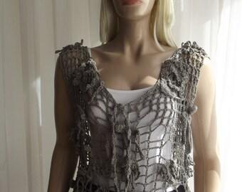 A Reef Art - Crochet Top / Mesh Top / Mesh Sweater / Sleeveless Sweater / Underwater Top / Primitive Top / Crochet Cord / 30% OFF !!!
