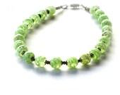 Vintage Venetian Glass Necklace, Sage Green, Murano Glass, Soft Sage, Art Glass Necklace, Adventurine