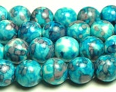 10mm Rain Flower Stone Ocean Jade Round Gemstone Beads - 19pcs - Blue, Purple - BB12