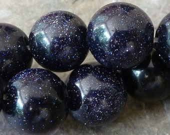 10mm Blue Goldstone Round Beads - 19pc Strand - BC20