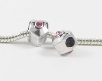 3 Beads - Mom Pink Rhinestone Barrel Silver European Bead Charm E0633
