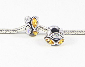 3 Beads - Yellow White Rhinestone Silver European Bead Charm E0676