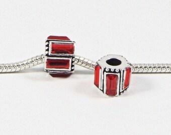 3 Beads - Red Square Rhinestone Silver European Bead Charm E0709