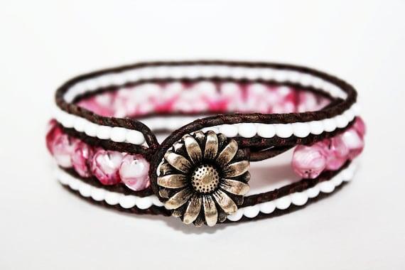 Bohemian Bracelet, Leather Triple Row Cuff Bracelet, Boho Chic, Wrap Bracelet, Daisy Bracelet, Pink and White Swirl 1x
