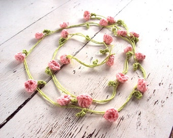 free shipping/Summer girl - versatile crocheted hairpiece /  girl necklace / - pink -- Free Worldwide Shipping