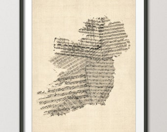 Old Sheet Music Map of Ireland Map (Eire), Art Print (925)