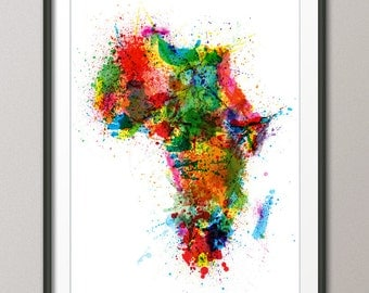 Africa Map Paint Splashes, Art Print (932)