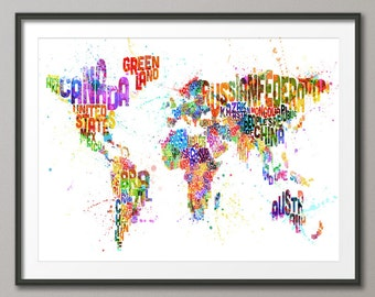 Typography Map of the World Map Paint Splashes, Art Print (747)