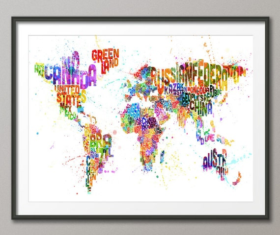 Typography Map Of The World Paint Splashes Art Print