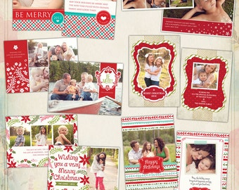 PSD Christmas Photo card template - Christmas Spirits - E500