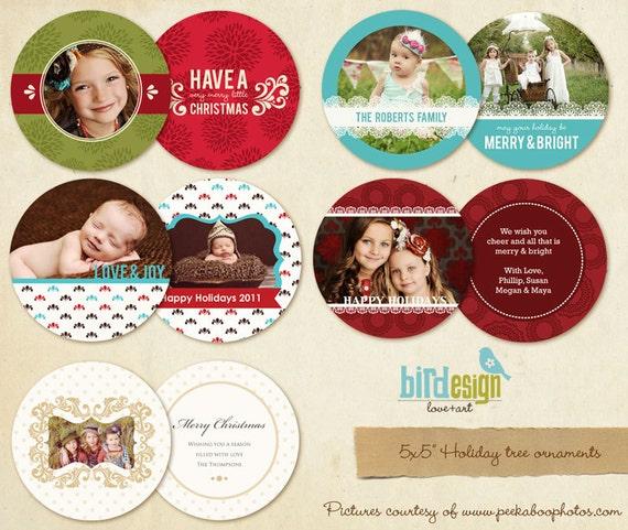 5 Tree ornaments cards - Chic Christmas Tree - E180