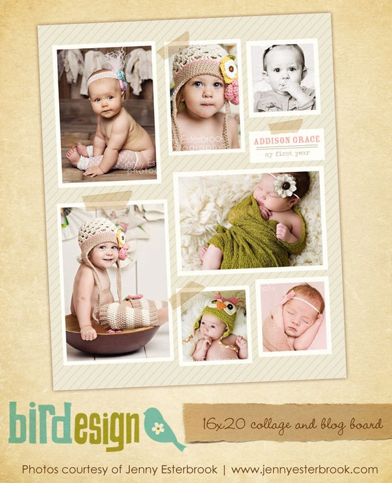 INSTANT DOWNLOAD - Blog Board & 16x20 Collage Template - E466