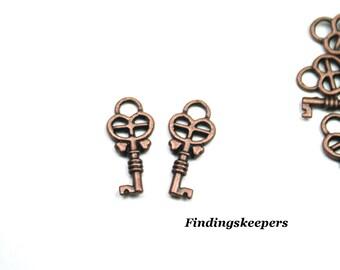 8 Key Charms Antique Copper Tone Metal 18 x 8 mm -  cc016