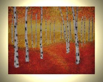 Aspen Trees - 14x11 Acrylic Canvas Painting Birch Trees, Autumn Fall Colors, Orange Yellow Leaves Original Painting Wall Art