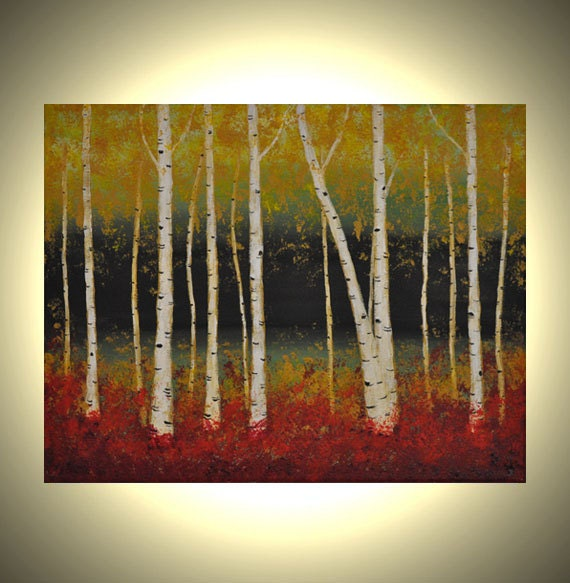 Autumn Aspen Trees 14x11 Birch Trees Acrylic Canvas