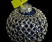 Chainmaille Wrapped Ornament in Silver & Blue
