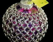 Chainmaille Wrapped Ornament in Silver, Pink & Purple