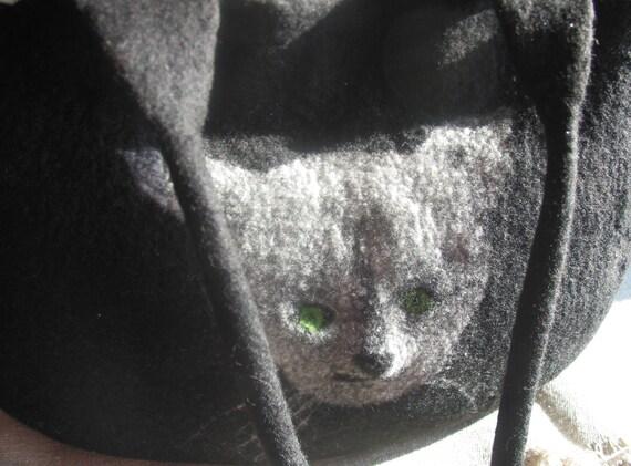 Shoulder hand bag felt.Felted black bag and cat .Hand felted. Pouch felt.One of a Kind