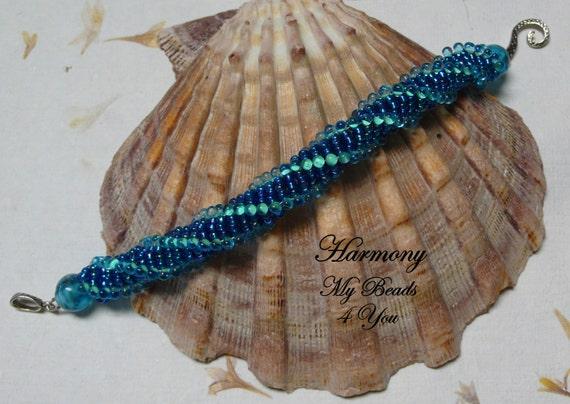 Beadwoven Bracelet, Beadwork Bracelet, Spiral Bracelet ,Seed Bead Bracelet, Beaded Rope, Spiral, Beadwork, Embellished Bracelet