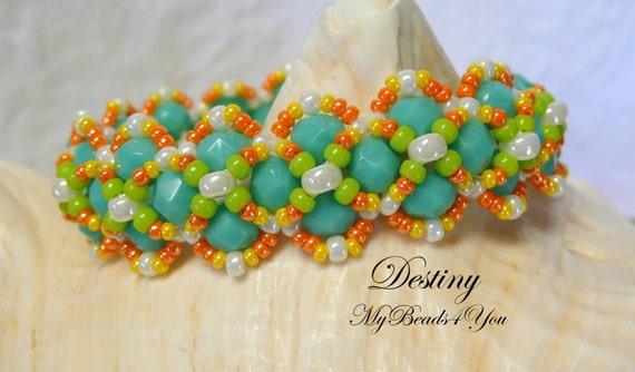Beaded Bracelet, Beadwoven Bracelet, Turquoise Beaded Bracelet, Seed Bead Bracelet, Beaded Jewelry, Beadwork Bracelet, MyBeads4You, Pattern