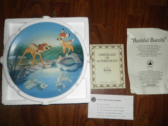 "Rare ""Bashful Bambi"" Plate One in Bambi Plate Collection from Knowles China Company"