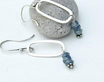Blue Kyanite earrings, Sterling silver Earrings, Silver oval hoop, Dangle Gemstone earrings, Gift for her, Semiprecious Jewelry, gift