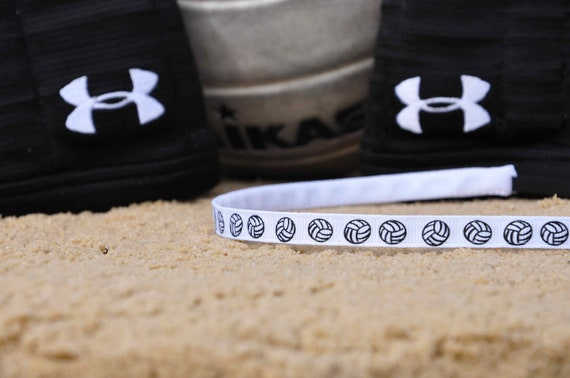 "Volleyball Headband No-Slip Printed Grosgrain Skinny 3/8"", 5/8"", or 7/8"""