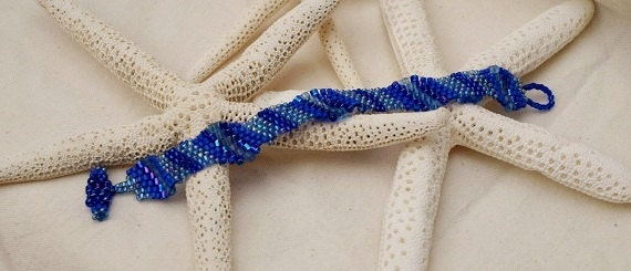 "RESERVED for SCOTT H. Blue Bracelet Peyote Stitch - Undulating Waves of Beads Invoke Visions of the ""Deep Blue Ocean"""