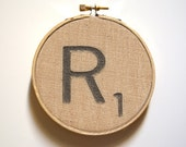 Personalized Scrabble Initial in Browns. Inked on Painters Drop Cloth. Wall art in wood embroidery hoop. Perfect for gift