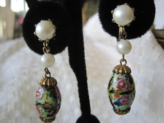 Reserved. Vintage Painted Bead Millefiori Drop Pearl Earrings