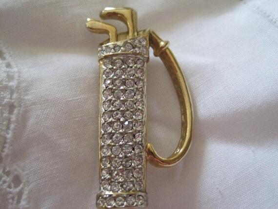 Rhinestone Encrusted Golf Bag Vintage Brooch Pin