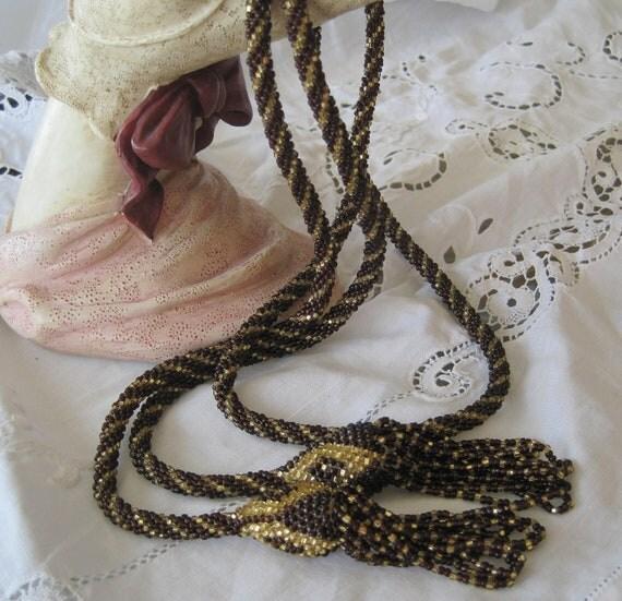Beaded Lariat Sautoir Deco Flapper Necklace