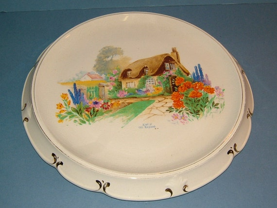 Art Deco Folding Cake Stand : Items similar to 1930s Art Deco Bread Plate / Cake Stand ...