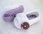 Baby Infant Girl Shoes / Slippers / Booties - Purple & White - YOUR choice size - (newborn - 12 months) - photo prop - children