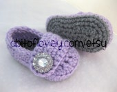 Baby Infant Girl Shoes / Slippers / Booties - Grey & Purple - YOUR choice size - (newborn - 12 months) - photo prop - clothing