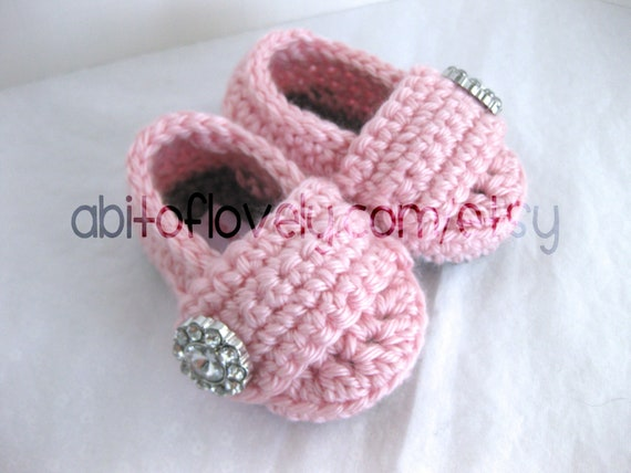 Spring Baby Girl Infant Shoes / Slippers / Booties - Grey & Pink, Jewel - YOUR choice size - (newborn - 12 months) - photo prop - children