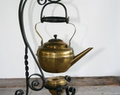 Antique Brass English Teapot & Burner on Wrought Iron Stand