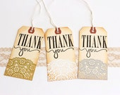 Thank You // Lace // Doily // Embossed // Metallic // Vintage Inspired // Wedding // Anniversary // Large Tags // Made to Order