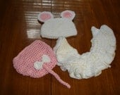 Hand crocheted Little White Mouse costume/photo prop