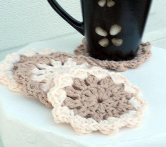 Creamy pink Crochet Coasters/Doilies, Set of 4