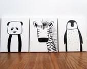 "Set of three - Modern Kids and Nursery Art Original Paintings 16"" x 20"" on 3/4"" depth canvas - Custom (Your choice of 3 animals/colours)"
