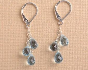 Blue Topaz Dangle Earrings, Silver Gemstone Earrings, December Birthstone Earrings, Light Blue Gemstone