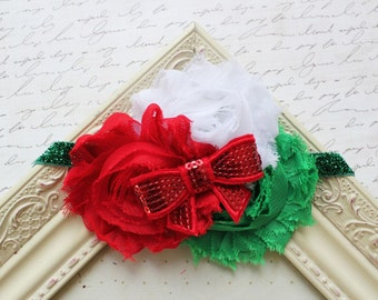Christmas Chiffon flower headband, baby headbands, newborn headbands, red headbands,  christmas headbands, photography prop
