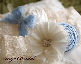 SILK Baby Blue Wedding Garters/ Wedding Garter/ Garter Set/ Bridal Garter/ Dupioni Silk/Vintage Wedding Garter