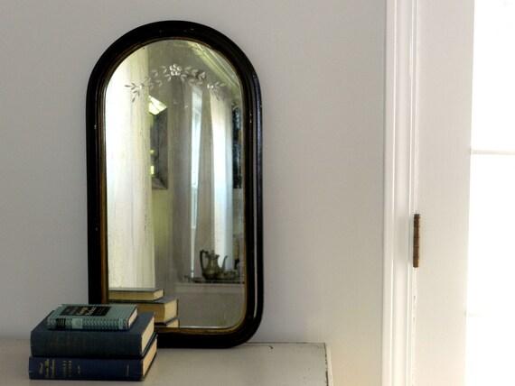 Antique Wood Mirror Etched Glass Ebony
