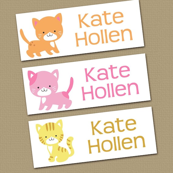 Personalized Waterproof Label Stickers - Girl - Kitties - Cats - Perfect for Bottles, Sippy Cups, Daycare, School - Dishwasher Safe - 01