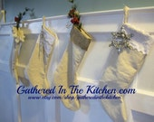 RESERVED FOR KATIE - Shabby Chic Drop Cloth Christmas Stockings Trimmed with Lace, Burlap