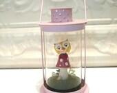 Pink Lantern Terrarium with Owl on Red Amanita Mushroom Christmas Birthday Gift home decor seasonal decor