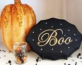 "Halloween ""Boo"" Art Plaque customizable Home Decorations"