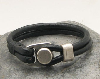 EXPRESS SHIPPING  Men's leather bracelet.Black leather multi strand men's bracelet with silver plated clasp. Fathers day . Gift for men.